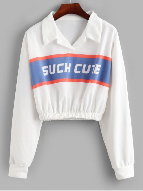Sweat-shirt Court Lettre Graphique à Col de Chemise - Blanc L