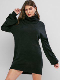 Mini-Robe Pull à Goutte Epaule à Col Roulé - Noir L