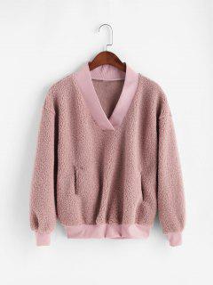 Sweat-Shirt Fourré à Goutte Epaule Avec Poche - Rose L