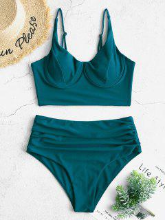 ZAFUL Ruched Underwire Tankini Swimsuit - Peacock Blue M