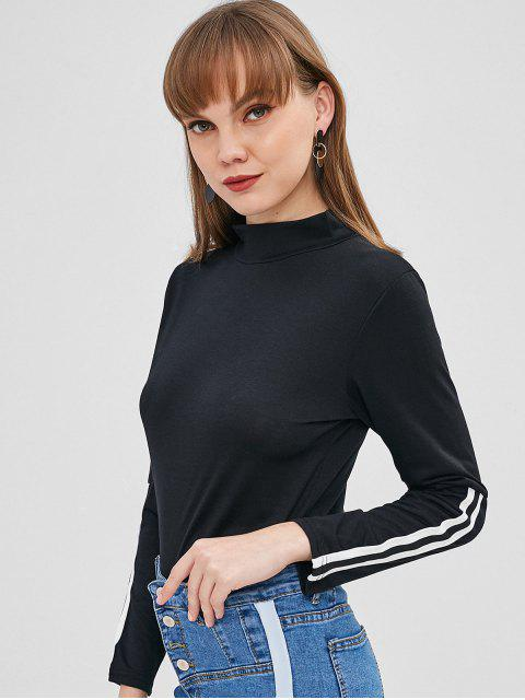 T-shirt Manches Rayées à Col Haut - Noir XL Mobile