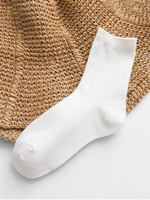 ladies Solid Striped Cotton Quarter Length Socks - WHITE  Mobile