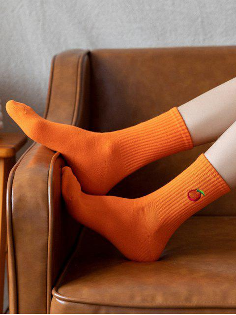 online Embroidery Fruit Quarter Length Socks - PUMPKIN ORANGE  Mobile
