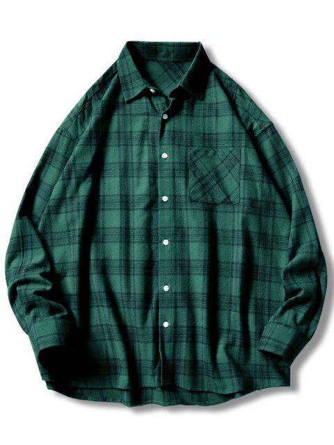 Camisa casual de bolsillo con estampado de cuadros - Verde 3XL Mobile