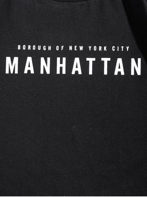 Camiseta de manga larga con diseño de arquitectura de Manhattan - Negro M Mobile