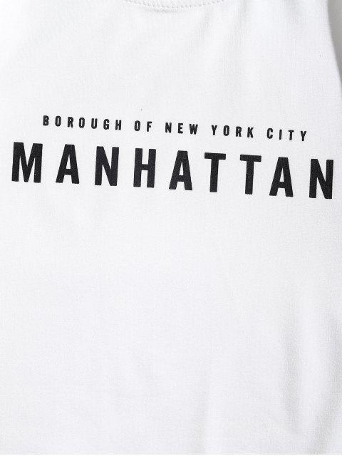 Camiseta de manga larga con diseño de arquitectura de Manhattan - Blanco M Mobile