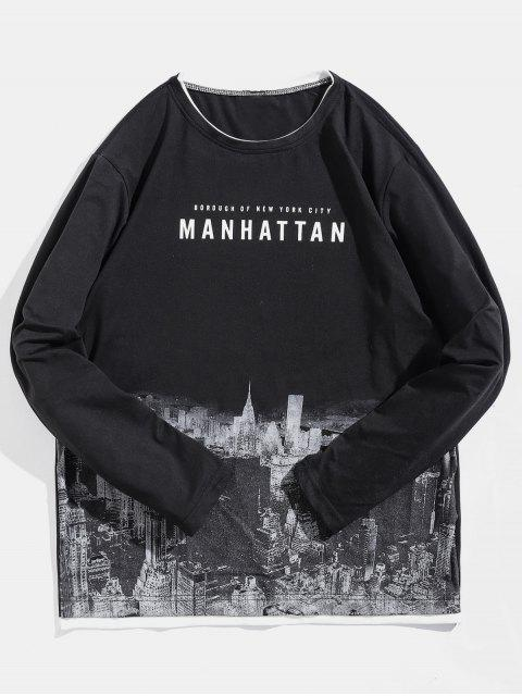 Camiseta de manga larga con diseño de arquitectura de Manhattan - Negro S Mobile