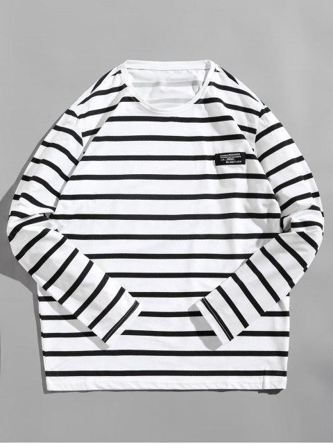 Camiseta de diseño de etiqueta a rayas de manga larga - Blanco L Mobile