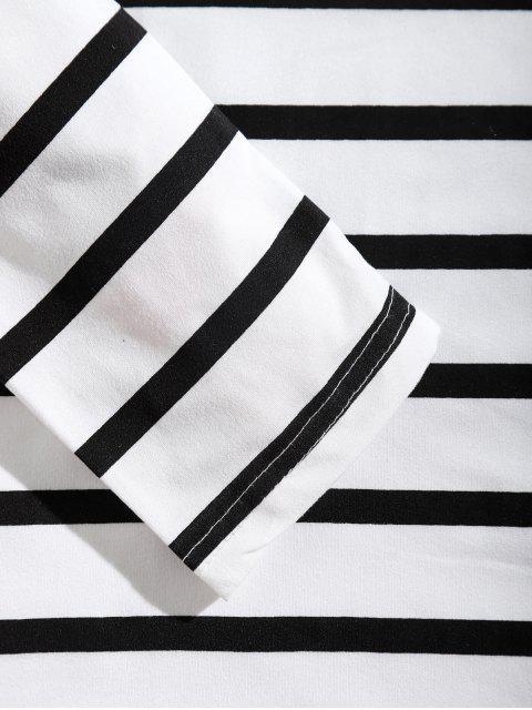 長袖條紋標籤設計T卹 - 白色 L Mobile