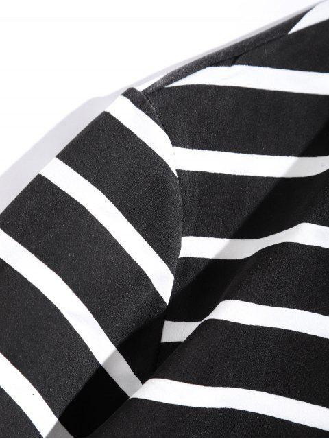 Camiseta de diseño de etiqueta a rayas de manga larga - Negro M Mobile