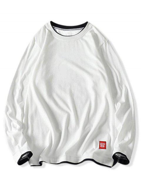 Camiseta básica de manga larga con vueltas en contraste - Blanco XS Mobile