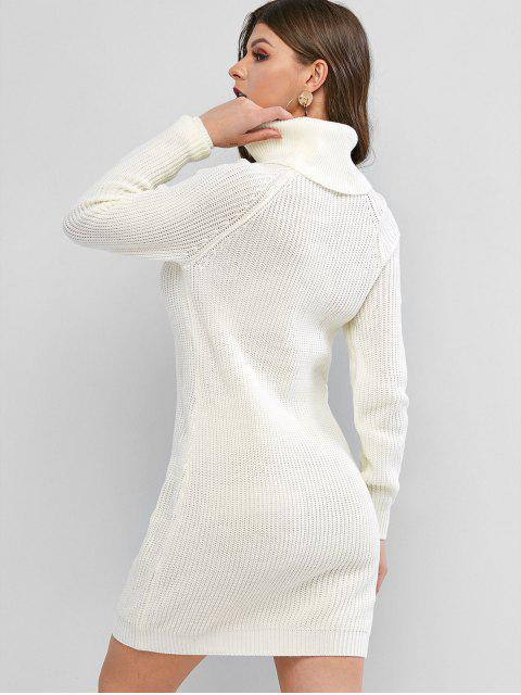 Mini Robe Pull Manches Raglan à Col Roulé - Beige L Mobile