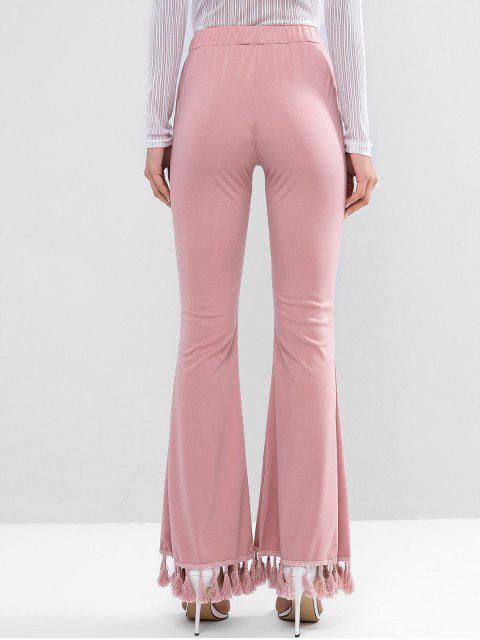 Pantalones acampanados con dobladillo de borla de talle alto - Rosado M Mobile
