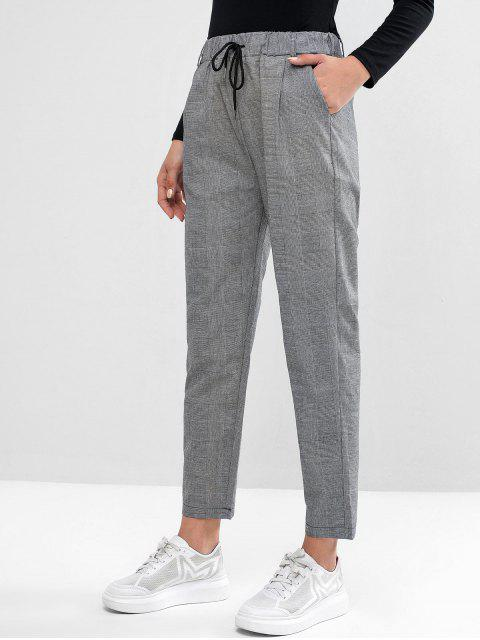 women's Drawstring Plaid Pockets Straight Pants - BLACK XL Mobile
