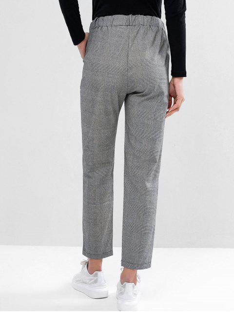 womens Drawstring Plaid Pockets Straight Pants - BLACK L Mobile