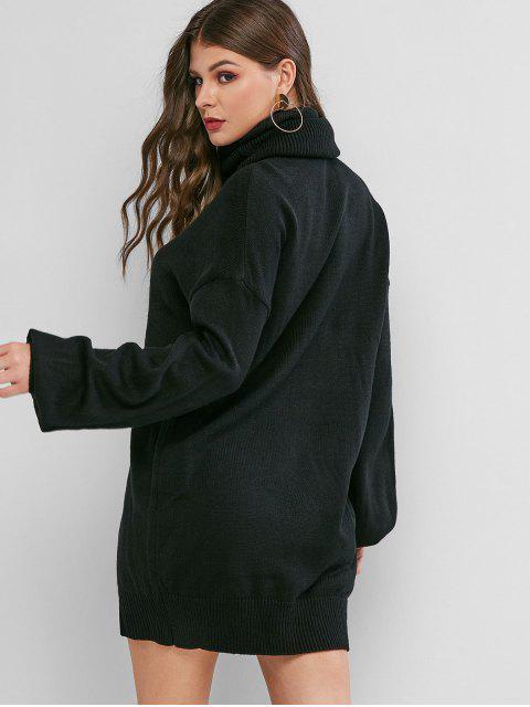 shop Turtleneck Drop Shoulder Mini Sweater Dress - BLACK L Mobile
