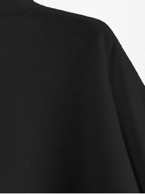 Sudadera lisa con cuello simulado y estampado ZAFUL - Negro  XL Mobile