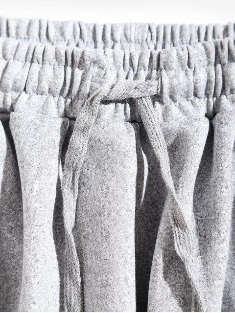 條紋抽繩休閒運動褲 - 淺灰 2XL Mobile