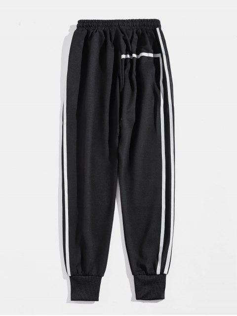 best Striped Drawstring Casual Sport Pants - BLACK XL Mobile