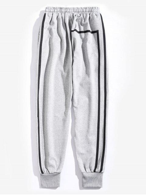 sale Striped Drawstring Casual Sport Pants - LIGHT GRAY M Mobile