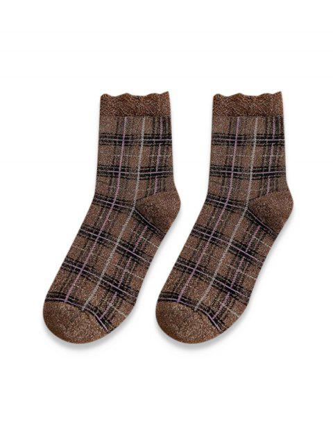 online Vintage Metallic Plaid Quarter Length Socks - COFFEE  Mobile