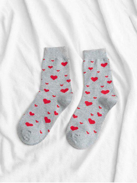 buy Cotton Heart Crew Length Socks - GRAY  Mobile