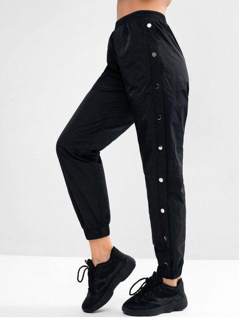 Pantalones de cintura alta con bolsillo embellecido con botones ZAFUL - Negro XL Mobile