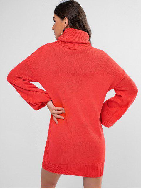 women Turtleneck Drop Shoulder Mini Sweater Dress - RED S Mobile