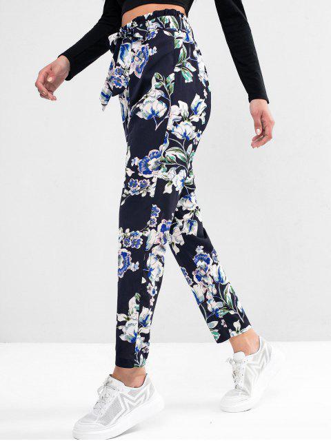 Pantalones lápiz con cinturón y bolsa de papel con estampado de flores ZAFUL - Multicolor-A S Mobile