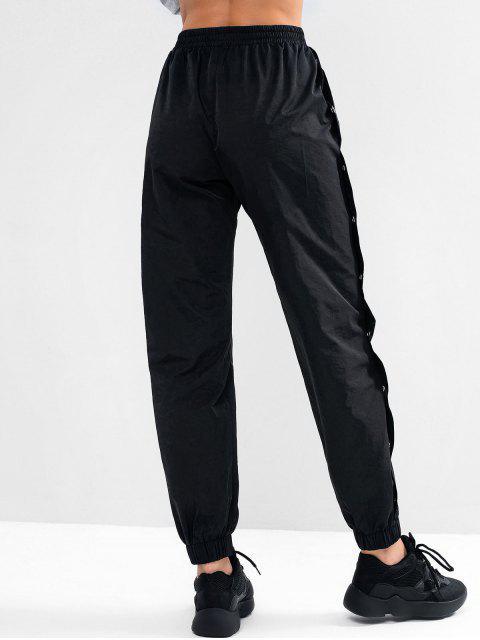trendy ZAFUL Button Embellished Pocket High Waisted Pants - BLACK M Mobile
