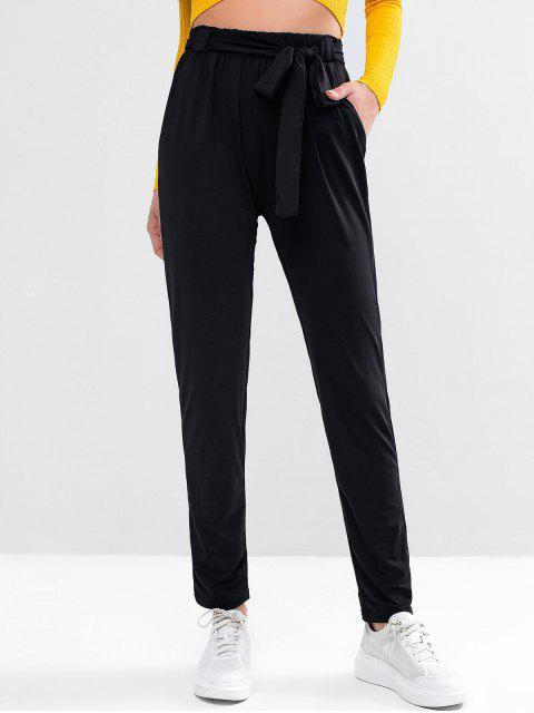 Pantalones de lápiz de bolsillo con cinturón de cintura alta - Negro XL Mobile
