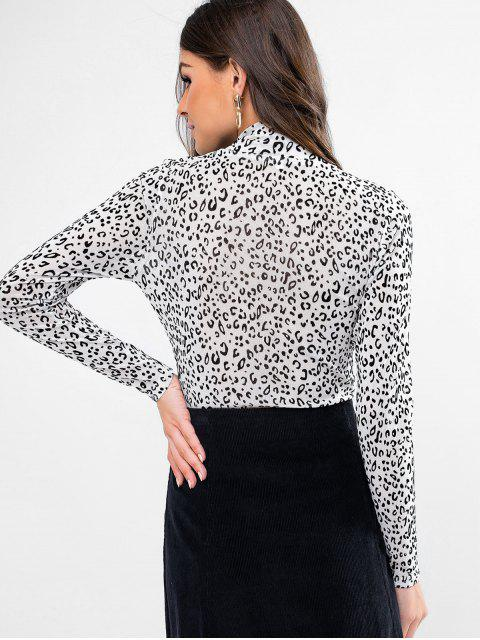 best ZAFUL Leopard High Neck Flocking Tee - WHITE XL Mobile