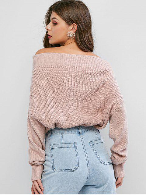 latest Exposed Shoulder Batwing Sleeve Plain Sweater - PINK M Mobile