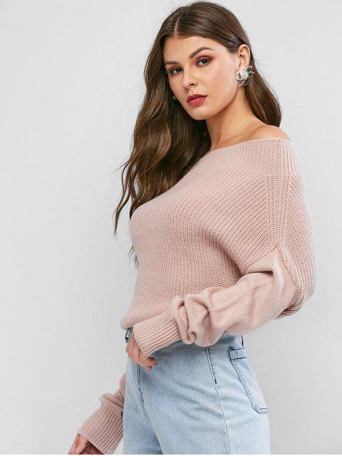 women Exposed Shoulder Batwing Sleeve Plain Sweater - PINK S Mobile