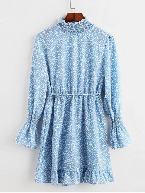 Mini Robe Imprimé Manches Longues à Ourlet Volanté - Bleu de Ciel  M Mobile