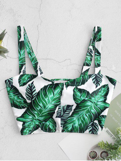 chic ZAFUL Palm Lace Up Square Neck Bikini Top - MULTI-A L Mobile