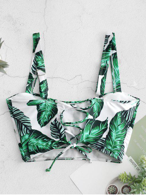 women's ZAFUL Palm Lace Up Square Neck Bikini Top - MULTI-A S Mobile