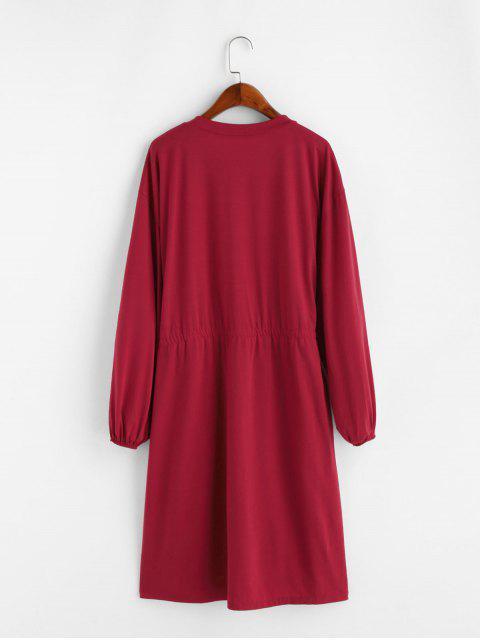 Robe avec Bouton en Avant Taille à Cordon à Manches Longues - Rouge XL Mobile