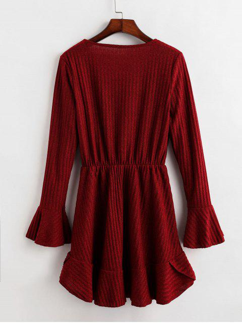 Mini Robe Côtelée Demi-Zip à Manches Longues - Rouge Vineux XL Mobile