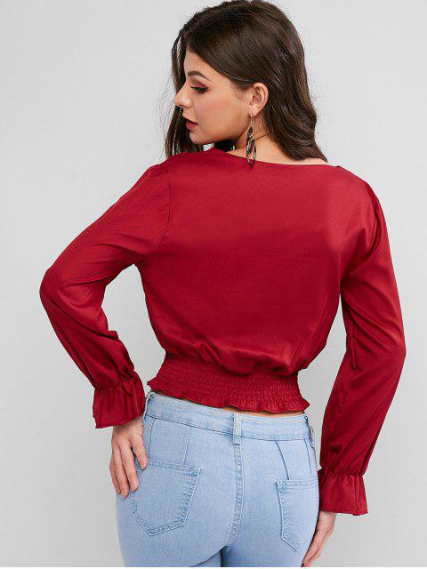 online V Neck Button Up Smocked Waist Blouse - RED M Mobile