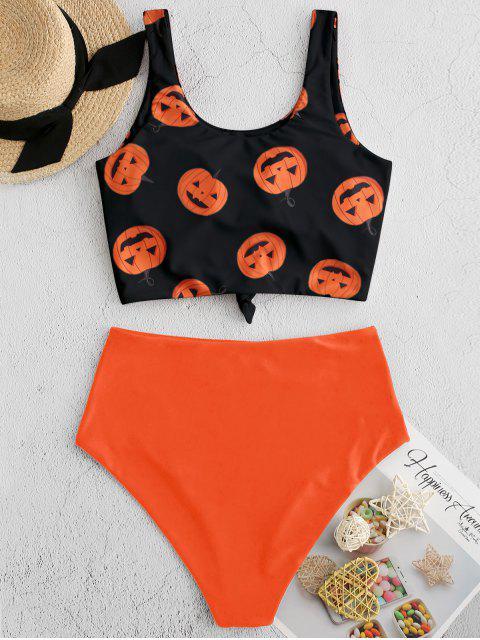 ZAFUL Costume da Bagno Tankini con Stampa di Zucca - Arancione Papaia XL Mobile