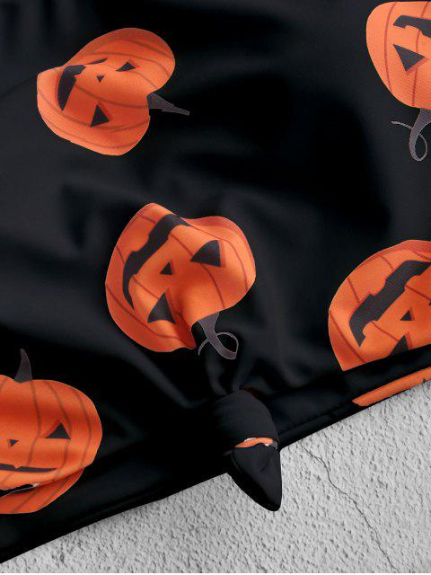 ZAFUL Maillot de Bain Tankini d'Halloween Noué Citrouille Imprimée - Orange Papaye 2XL Mobile