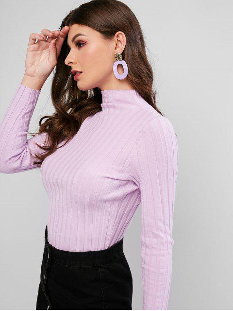 chic Mock Neck Basic Crop Sweater - MAUVE L Mobile
