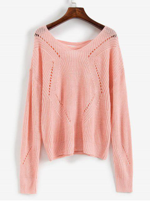 outfit ZAFUL Scoop Neck Lace Up Open Knit Sweater - PINK S Mobile