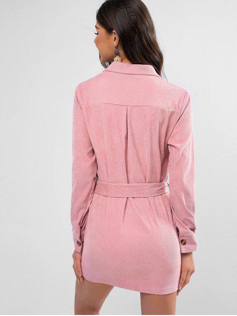 Bolsillos con solapa camisa de vestir con cinturón de pana - Rosado M Mobile