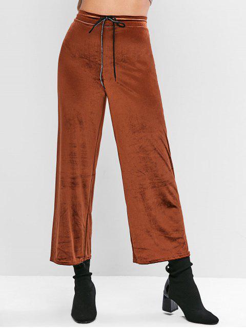 ベルベット巾着レターグラフィックワイドレッグパンツ - ライト・ブラウン XL Mobile