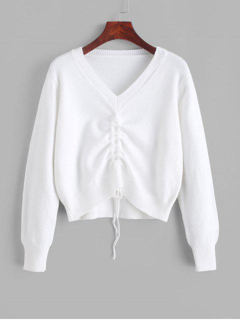 new Pullover Cinched Front V Neck Sweater - WHITE ONE SIZE Mobile