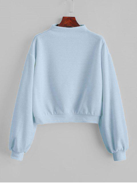 outfit ZAFUL Pullover Mock Neck Plain Sweatshirt - LIGHT BLUE L Mobile