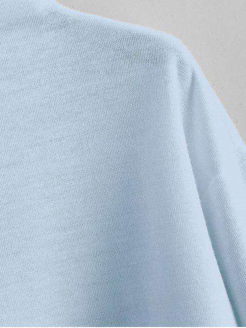affordable ZAFUL Pullover Mock Neck Plain Sweatshirt - LIGHT BLUE XL Mobile