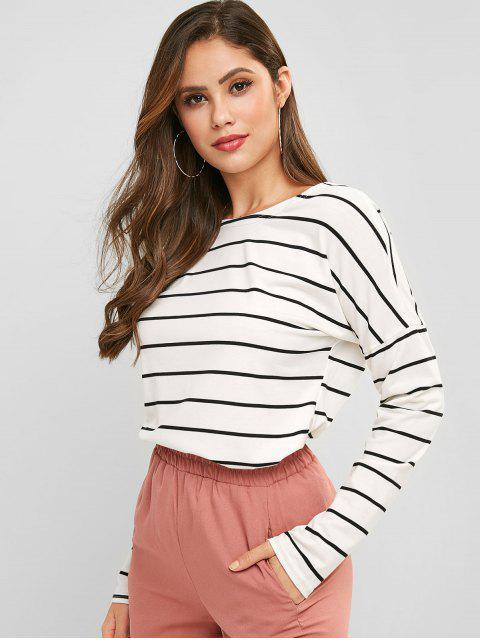 outfits Drop Shoulder Striped Long Sleeve Tee - WHITE L Mobile